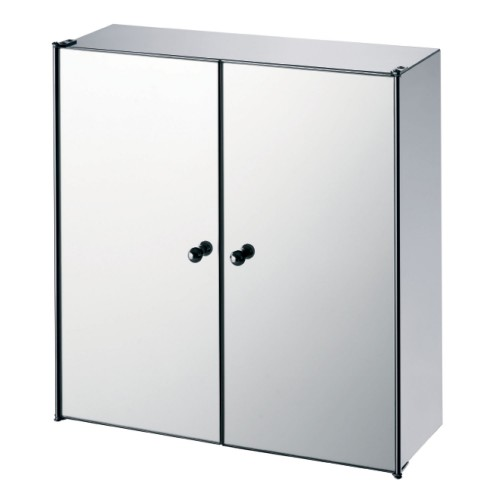 Lloyd Pascal Double Mirror Door Cabinet, Stainless Steel