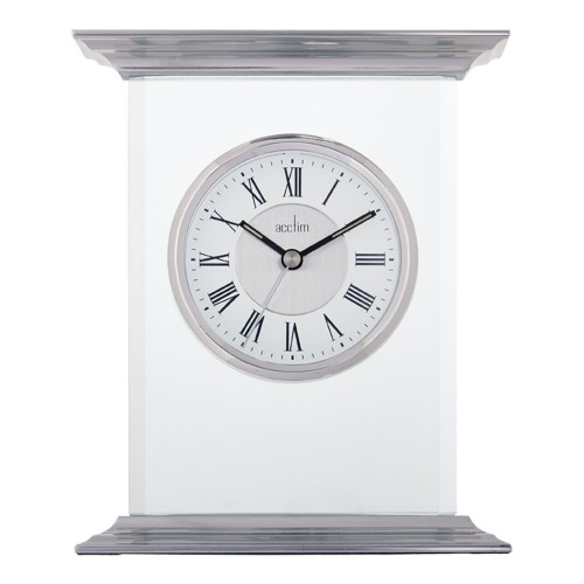 Acctim Thornton Mantel Glass Clock, Silver