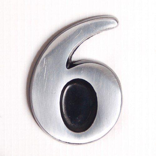 """House Nameplates S/adh 2"""" Alu Numbers 6, Silver"""