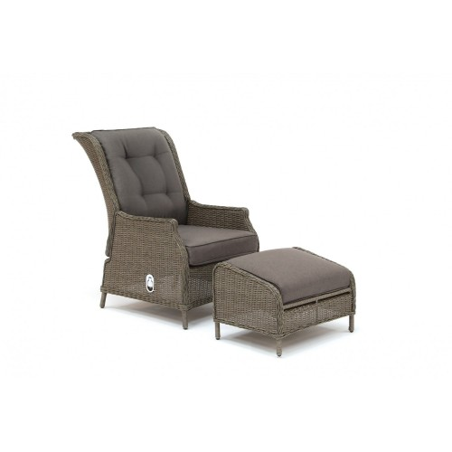 kettler classic outdoor recliner and stool rattan taupe l