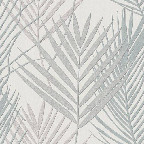 Muriva Palm Leaf Vinyl Wallpaper, Silver