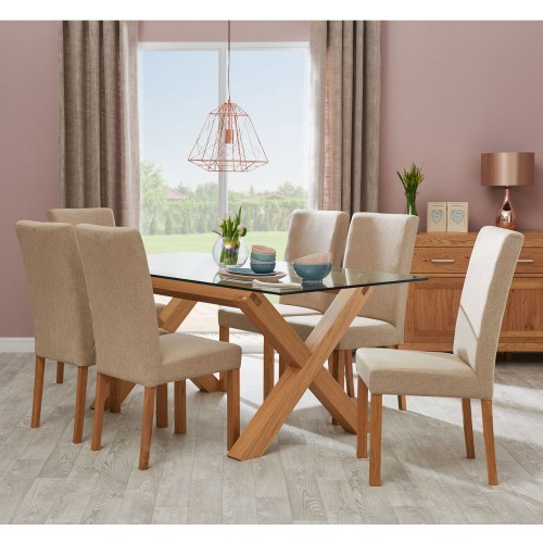 6 Chair Dining Set: Casa Toledo Glass Table & 6 Upholstered Chairs Dining Set
