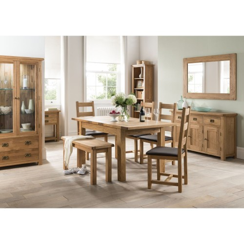 Casa Seville Ext Table & 4 Chairs Dining Set, Solid Oak