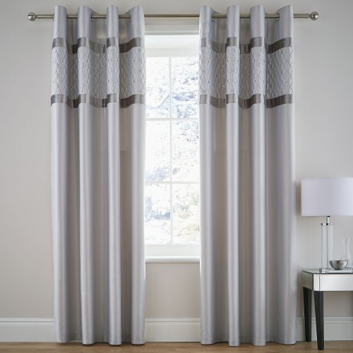 Catherine Lansfield Sequin Cluster Curtain, 168cm x 229cm, Silver