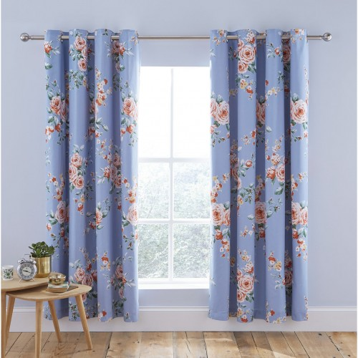 Catherine Lansfield Canterbury Blackout Curtain, 168cm x 229cm, Blue