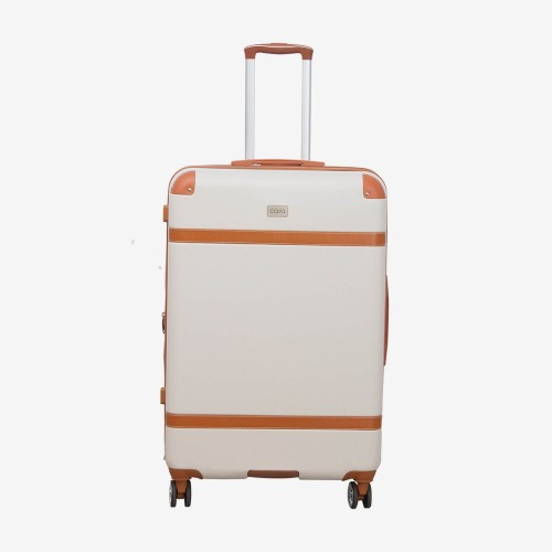Casa Contrast Banded Hard 44cm x 26cm x 76cm Suitcase , Cream And Tan