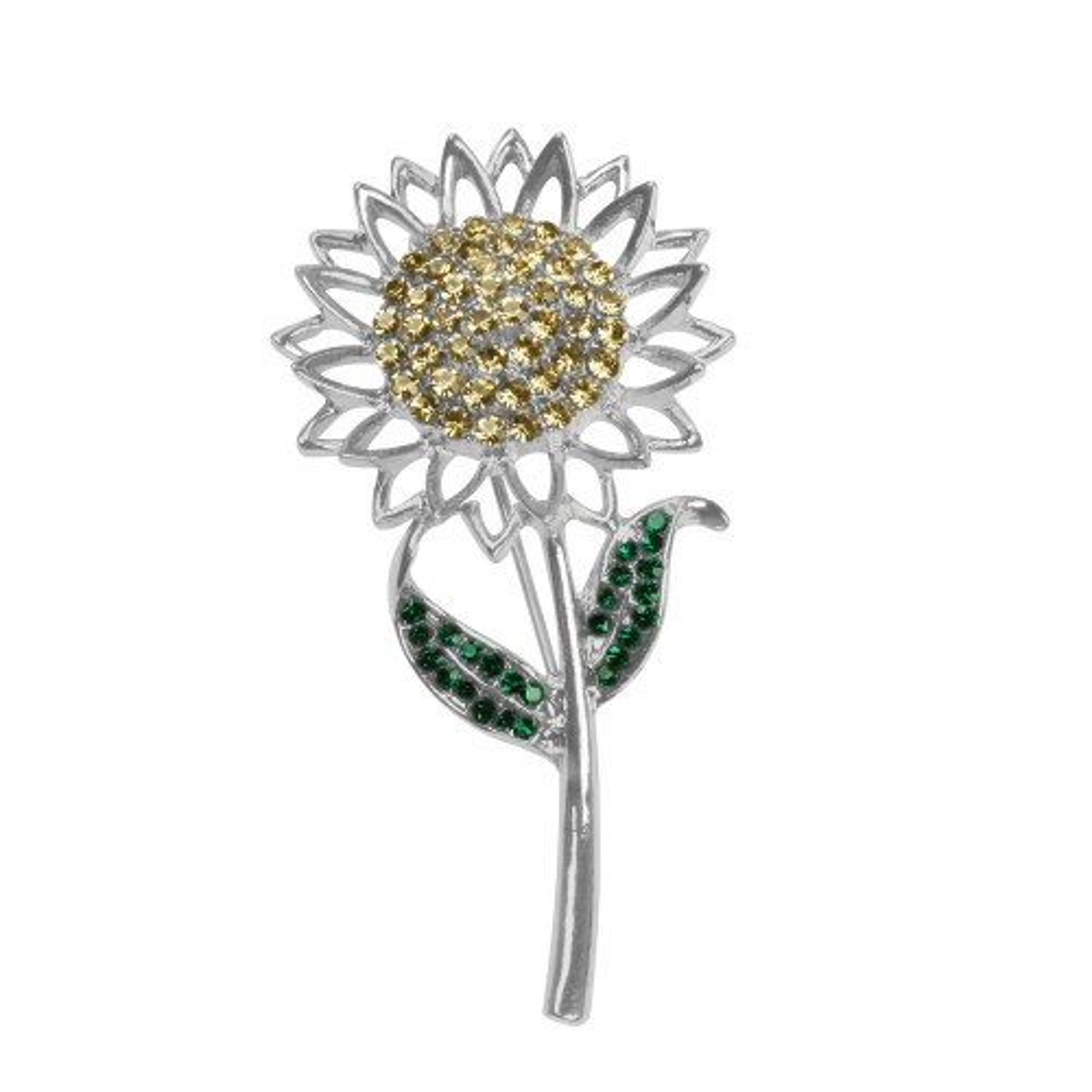 Sunflower Crystals Brooch, Silver