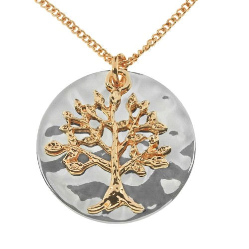 Disc With Tree Of Life Necklace, Mixed Metal