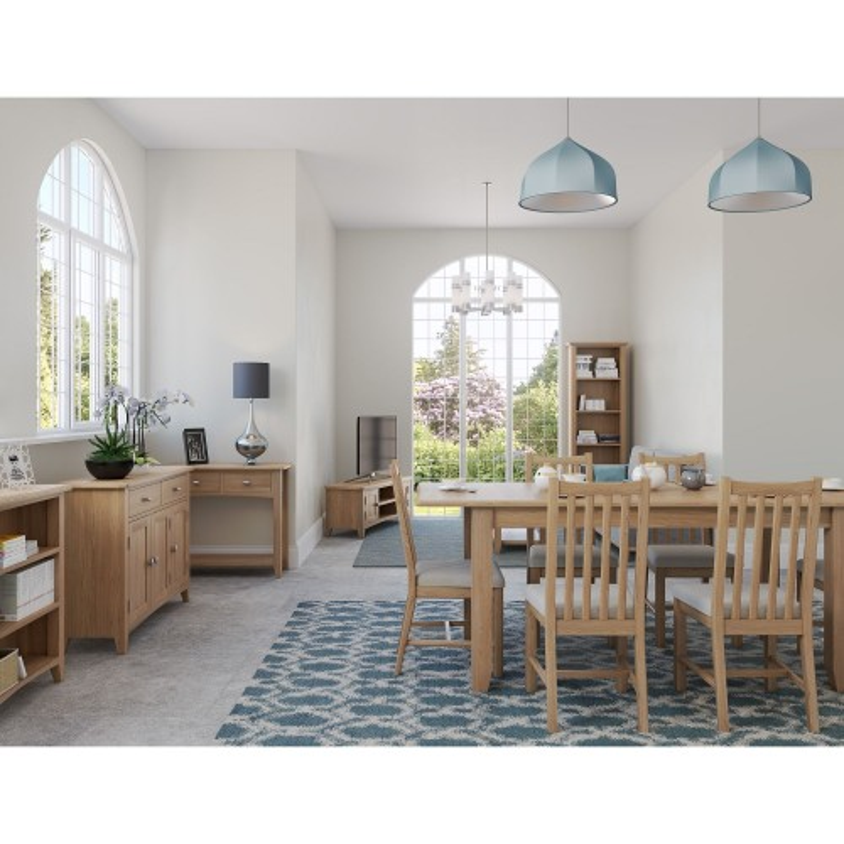 Casa Kington Fixed Table & 4 Chairs, Brown