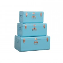 Set of 3 Metal Trunks, Blue/Copper