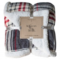 Gallery Check Sherpa Throw, 152 x 177cm, Grey & Red