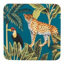 Madagascar Cheetah Coasters, Teal