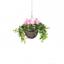 TreeLocate Artificial Cyclamen Hanging Basket Small