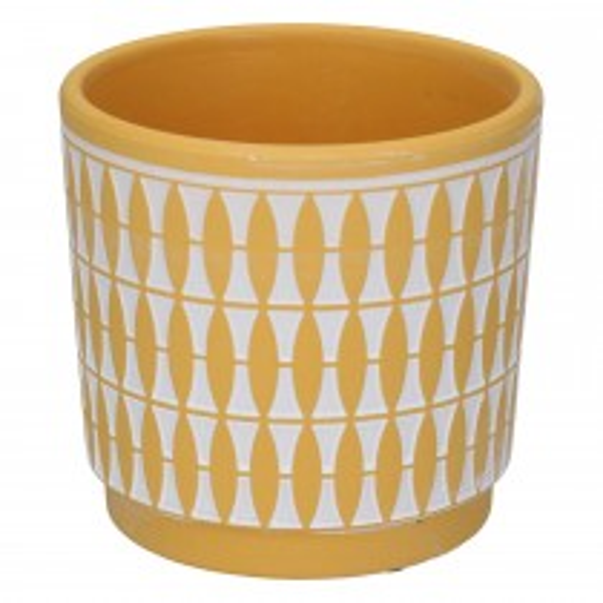 Gisela Graham Geo Painted Terracotta Pot, Mustard