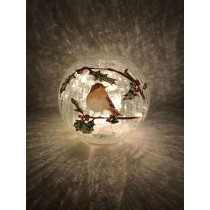 Festive Battery Operated Lit Crackle Robin Ball