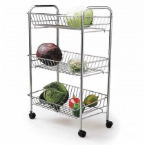 Kitchen Craft 3 Tier Chrome Plated Storage Tidy Trolley
