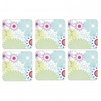 Portmeirion Crazy Daisy Coasters Square Set of 6