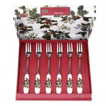 Portmeirion Holly and Ivy Pastry Forks Set of 6
