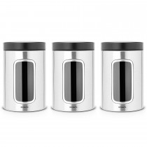 Brabantia 1.4Litre Window Canister Set Matt Steel