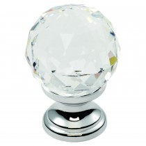 Carlisle 35mm Faceted Lead Crystal Contemporary Cupboard Knob