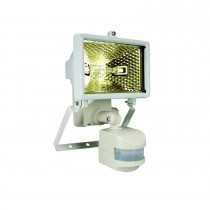 Byron ES120 Halogen Floodlight With Motion Detector, White