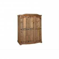 Corona 3 Door Wardrobe, Waxed Pine