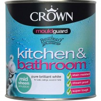Crown 1l Kitchen and Bathroom Mid sheen Mould guard Pure Brilliant White