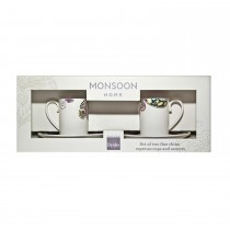 Denby Monsoon Cosmic Set of 2 Espresso Cups and Saucers