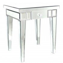 Single Drawer End Table, Mirrored Finish