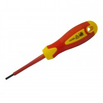Faithfull 4.0x100mm Slotted Soft Grip VDE Screwdriver
