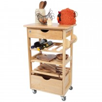 T And G Woodware Kitchen Compact Trolley Flatpack, Hevea