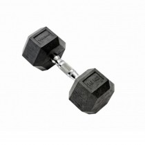 York 10kg Rubber Hex Dumbbell, Black