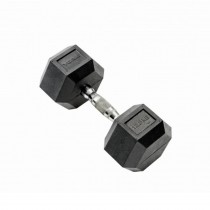 York 12.5kg Rubber Hex Dumbell, Black