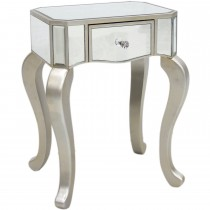 Casa Single Drawer Mirrored End Table, Champagne
