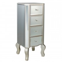Tall 4 Drawer Cabinet, Mirrored Finish with Champagne Legs