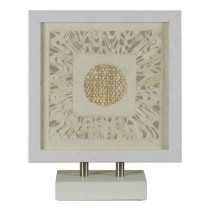 Casa White Frame Analeigh Art Piece, Beige