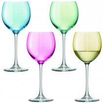 Pastel Polka Wine Glasses Set of 4