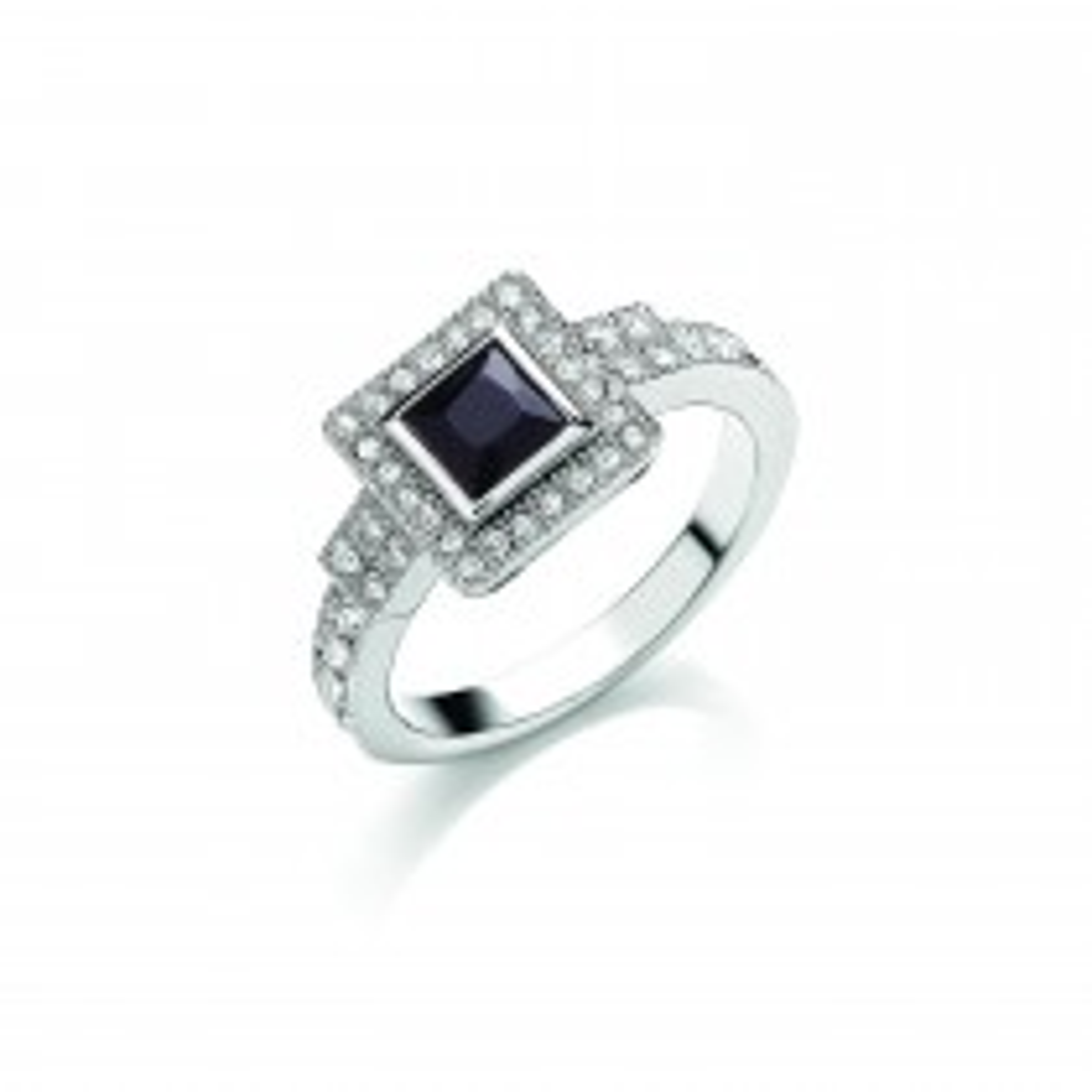 Buckley London Rhodium Deco Sparkle Ring L, Multi