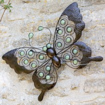 La Hacienda Butterfly Wall Art Glow Dark, Bronze/green