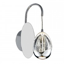 Casa Eden Wall Light, Chrome Metal With Clear Glass