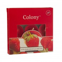 Colony Tealights Box Of 9 Strawberry & Cream, Red