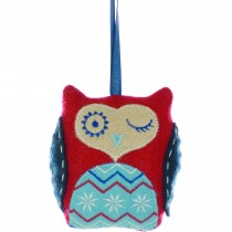 Festive Nordic Red Owl Hanging Decoration