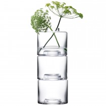 LSA Stack Vase Trio 30cm x3, Clear Glass