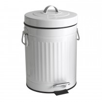 Lloyd Pascal 5l Retro Painted Dustbin, White