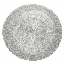 Walton And Co Circular Beaded Placemat, Silver