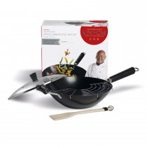 Ken Hom 4 Piece Wok Set, Black