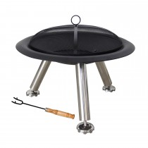 Casa Phoenix Firepit with Grill, Black
