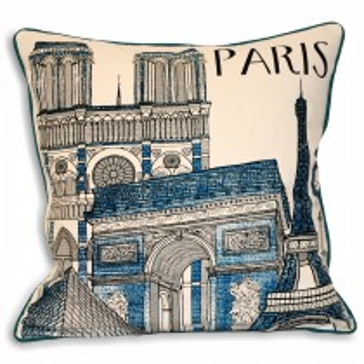 Riva Paoletti Cityscape Paris 45x45 Cushion, Blue