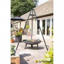 La Hacienda Tripod & Hanging Grill, Black & Chrome