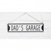 La Hacienda Dad's Garage Metal Sign, Black/white